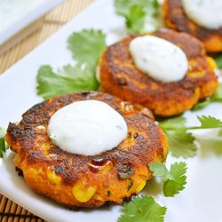 Sweet Potato Corn Cakes with a Garlic Yogurt Dipping Sauce. OMG a hybrid between a potato pancake and a corn fritter. i need this immediately
