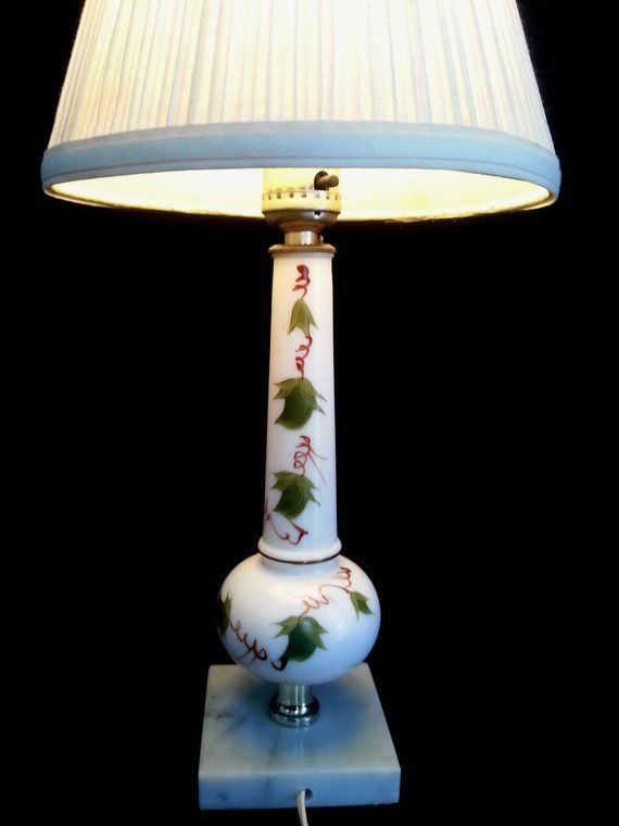 Vintage White Milk Glass Electric Lamp Solid Marble Base Etsy Nightstand Light Electric Lamp White Milk Glass
