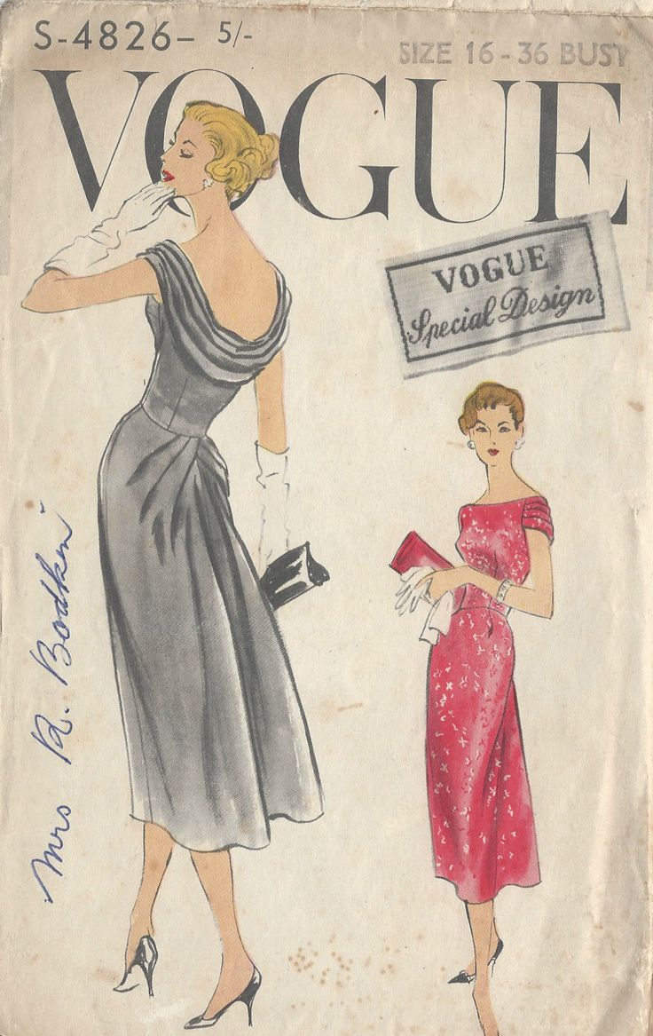 1950s Vintage VOGUE Sewing Pattern 4826 - love the detail on the bum as well as the cowl neckline at the back