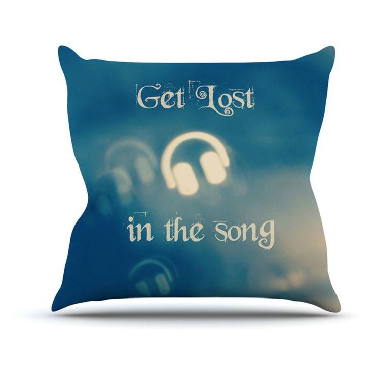 Kess InHouse Beth Engel Get Lost In The Song Headphones Indoor/Outdoor Throw Pillow - BE1043AOP02