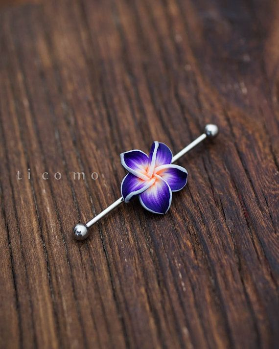 industrial barbell industrial piercing 14g flower floral by ticomo