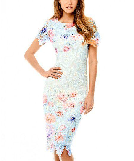 AX Paris Light Blue Floral Sheath Dress
