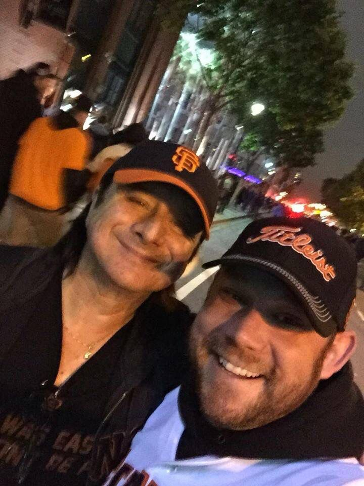 Steve Perry tonight June 7 2016 at Giants game with fan.