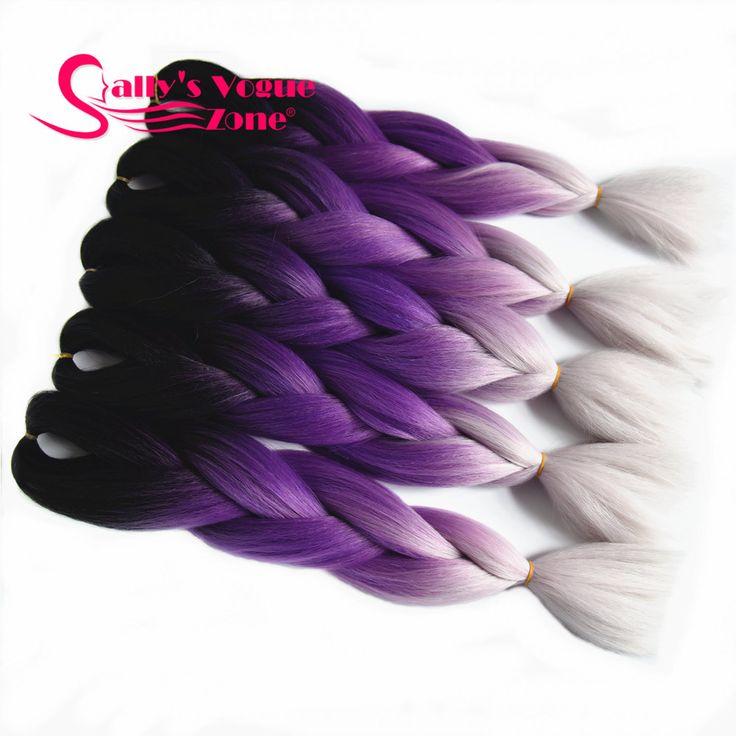 オンブル編み髪合成ジャンボ三つ編みヘアエクステンション3音色黒紫シルバーグレーバルクヘア編組