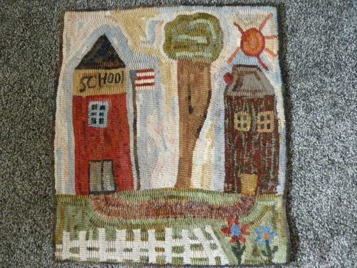 Hand Hooked Wool Rug/table Mat Primitive And One Of A Kind