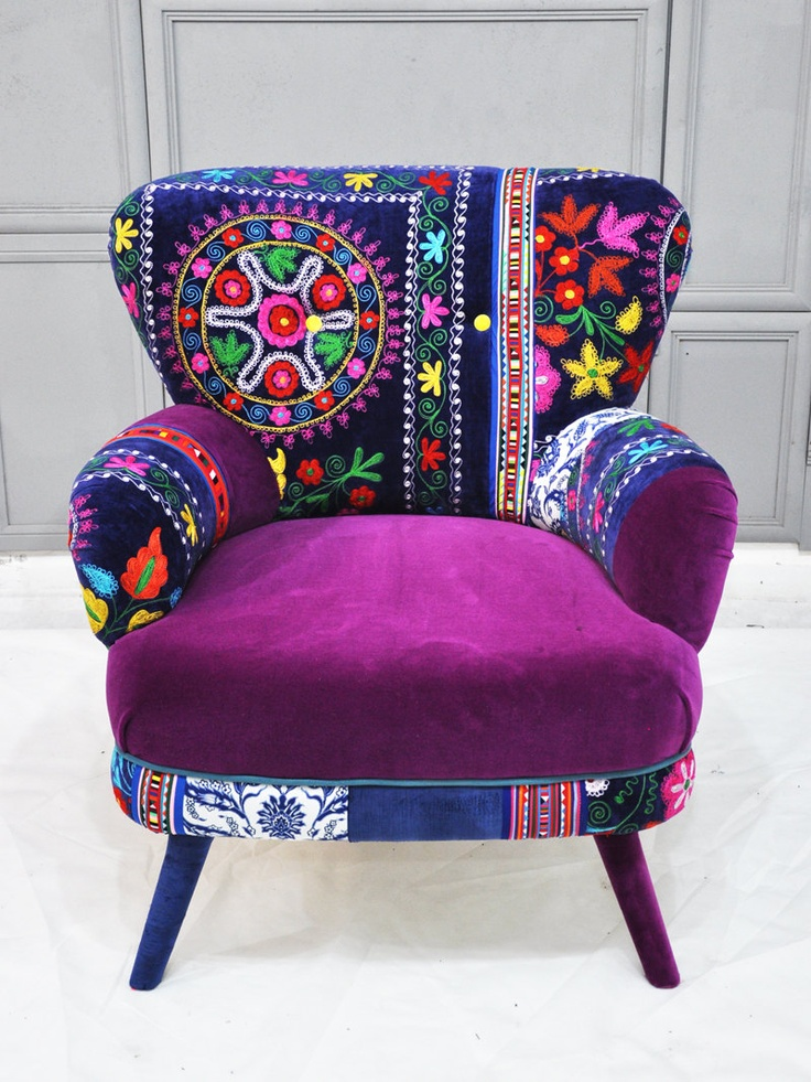 Patchwork armchair with Suzani fabrics.