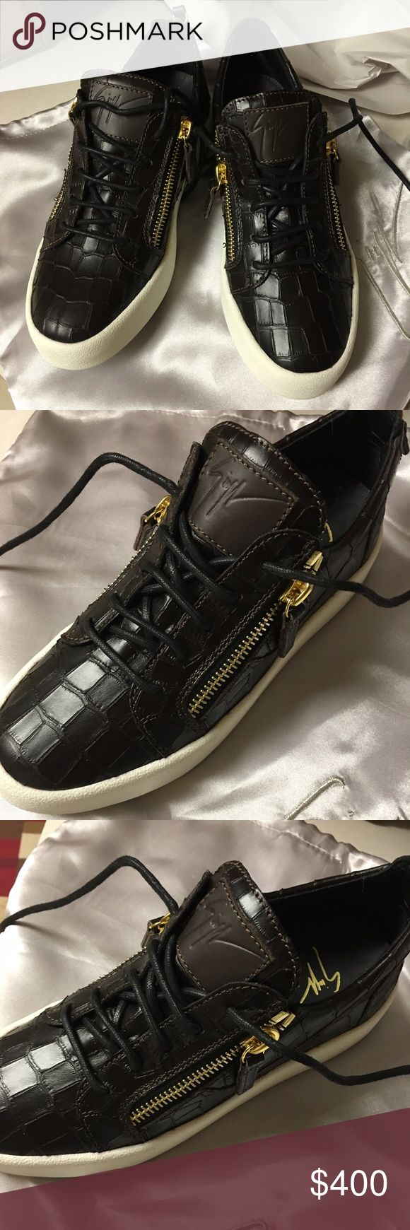 giuseppe zanotti men's sneakers 39.5 brown crocodile skin with two side zippers. Never worn! Selling for 400 Giuseppe Zanotti Shoes Sneakers
