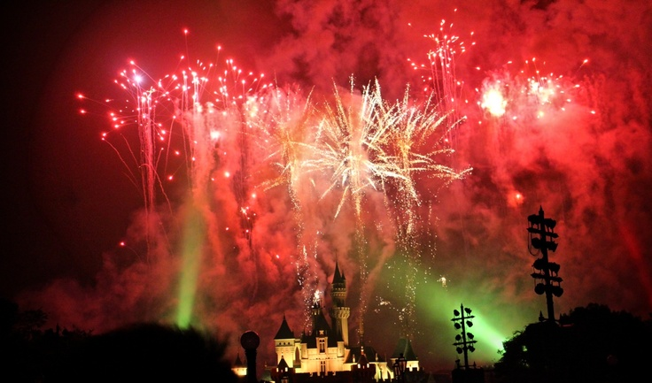 Fireworks at disneyland Hongkong
