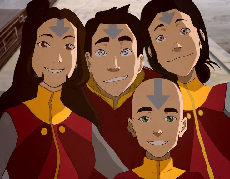 Snapshot of the airbender kids right after Rohan reveals his new tattoos! (Jinora 22, Ikki 19, Meelo 17, Rohan 12)  Love the idea of Meelo keeping his hair. <3