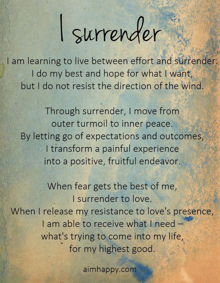 I #Surrender, a Positive #Affirmation