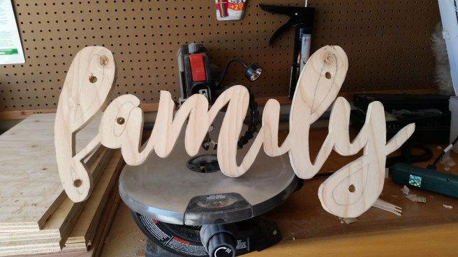 DIY Wooden Word Art Scroll Saw Project Drill holes in center of inside shapes on words to thread blade