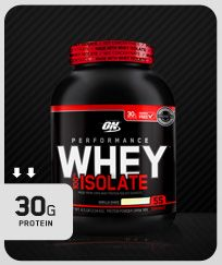 Performance Whey Isolate Nutrition So far, I only founded at Costco! This is the Whey Protein with the best balance between Protein and Calories. It tastes really good, no side effects