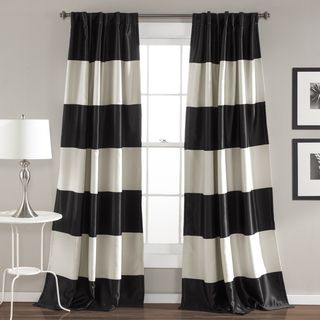 Lush Decor Montego Black and Gold Polyester Striped Window Curtain Panel Pair | Overstock.com Shopping - The Best Deals on Curtains