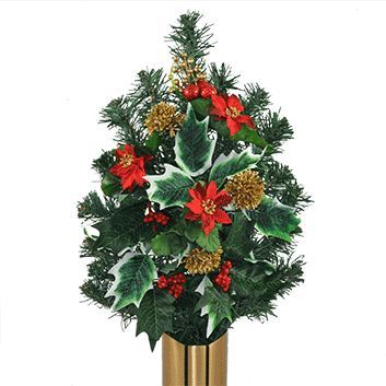 Artificial Evergreen arrangement available for a mausoleum or niche vase. Prices do vary.