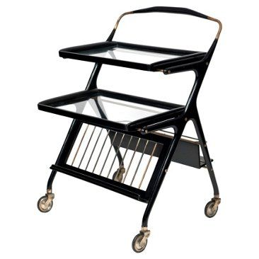 Check out this item at One Kings Lane! Ebonized Serving Cart by Cesare Lacca