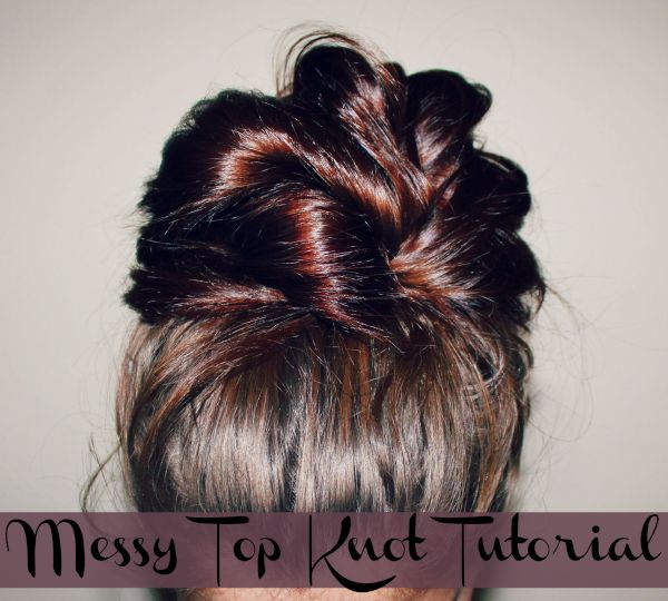 "messy top knot tutorial and pic. This is great for the summer but here in Southern Texas it's great for year round. Funny thing is all through high school I always wore my hair in a ""messy bun"" as my friends and would call it or my as my aunt would say a rat's nest lol. Little did I know it would make a come back as a Top Knot."