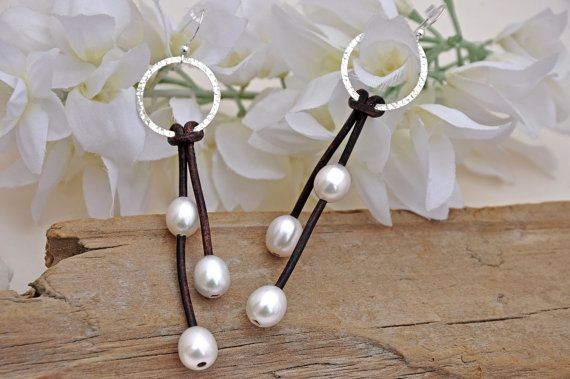 Pearl and Leather Sterling Silver Lariat Earrings - Pearl and Leather Jewelry…