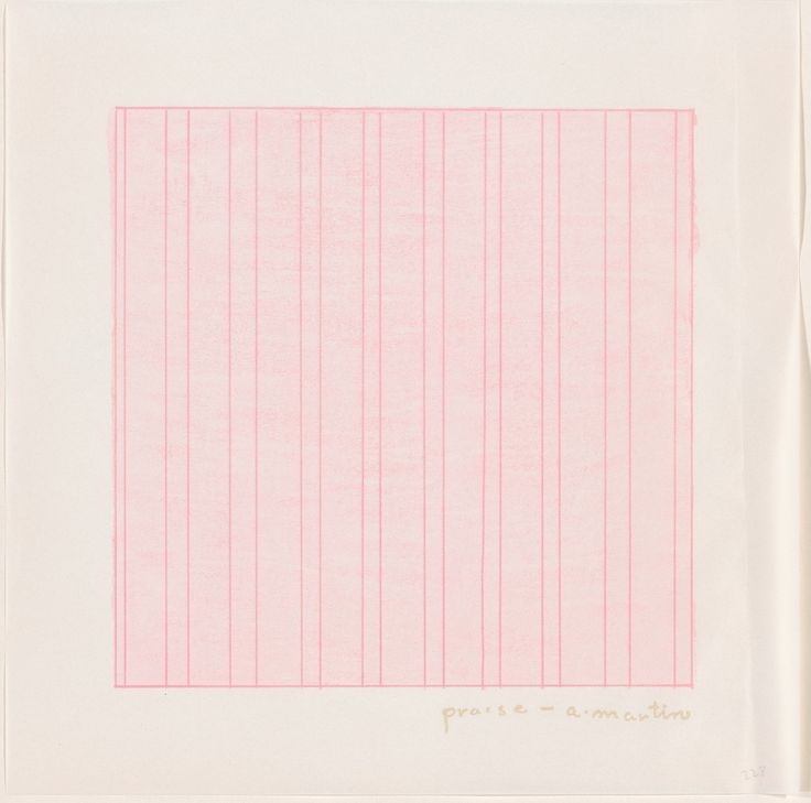 "Agnes Martin, ""Praise,"" 1976, rubber stamp in pink on Dalton Natural Bond paper from a portfolio of 13 rubber stamp prints, each stored in a separate envelope, National Gallery of Art, Washington, Gift of Bob Stana and Tom Judy"