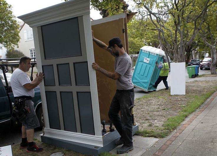 Disguises for portable toilets with something to hide