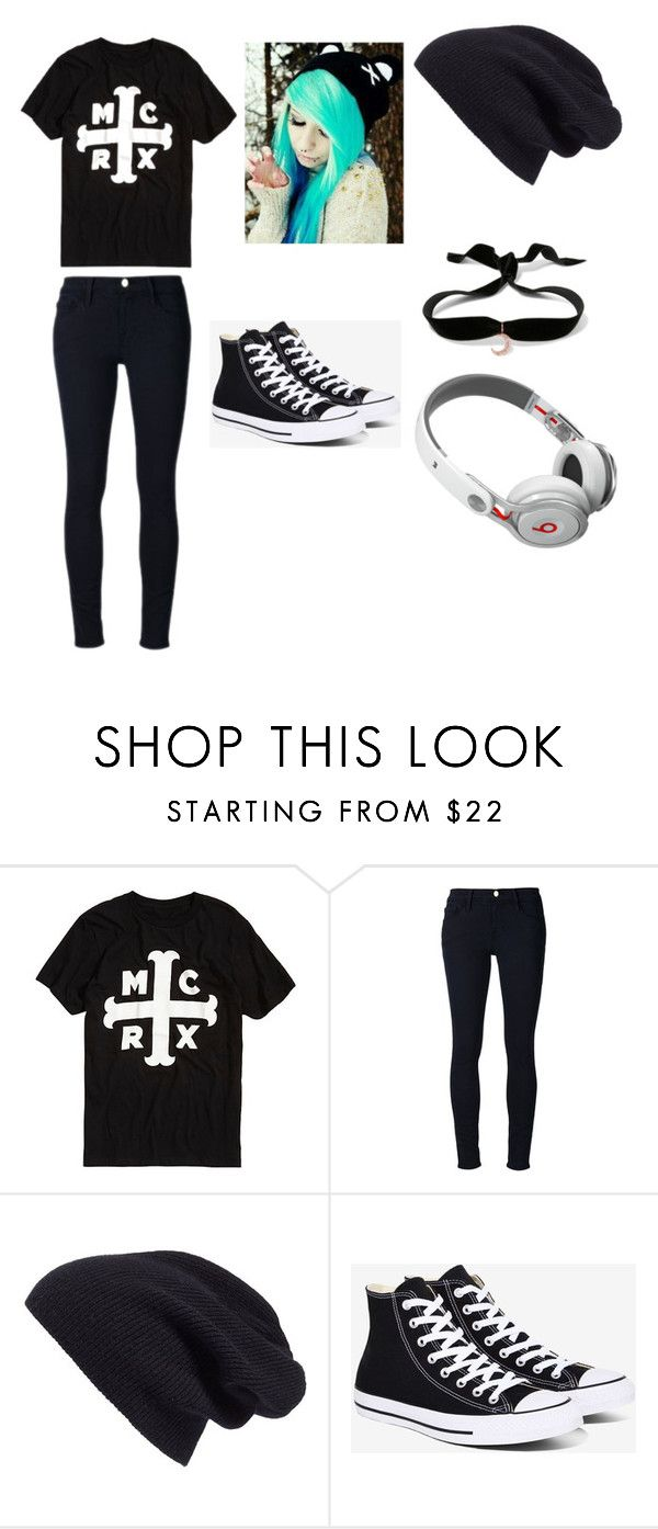"""""""Emo girl number something"""" by avalossinaida ❤ liked on Polyvore featuring Frame Denim, Halogen, Converse, Aamaya by Priyanka and Beats by Dr. Dre"""