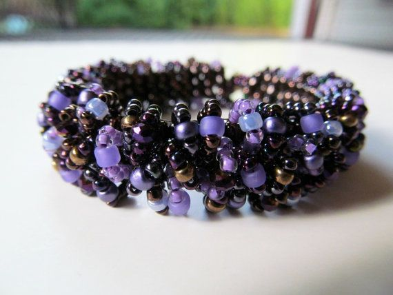 Custom Caterpillar Beadwoven Bracelet in Purple and by BeadedTail. , via Etsy.
