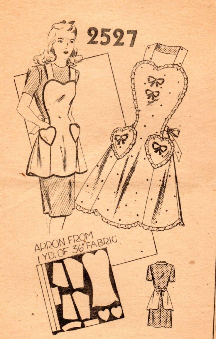 Vintage Original 1940s Mail Order One Yard Bib Apron Sweetheart Neckline Heart Pockets Pattern Sewing Pattern One Size by bizzielizzies on Etsy