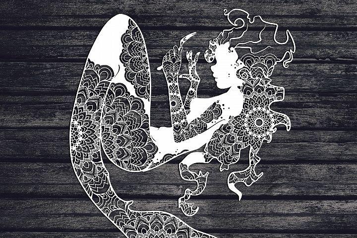 Mandala Mermaid Svg, Mermaid Svg, Mandala Svg, Zentangle