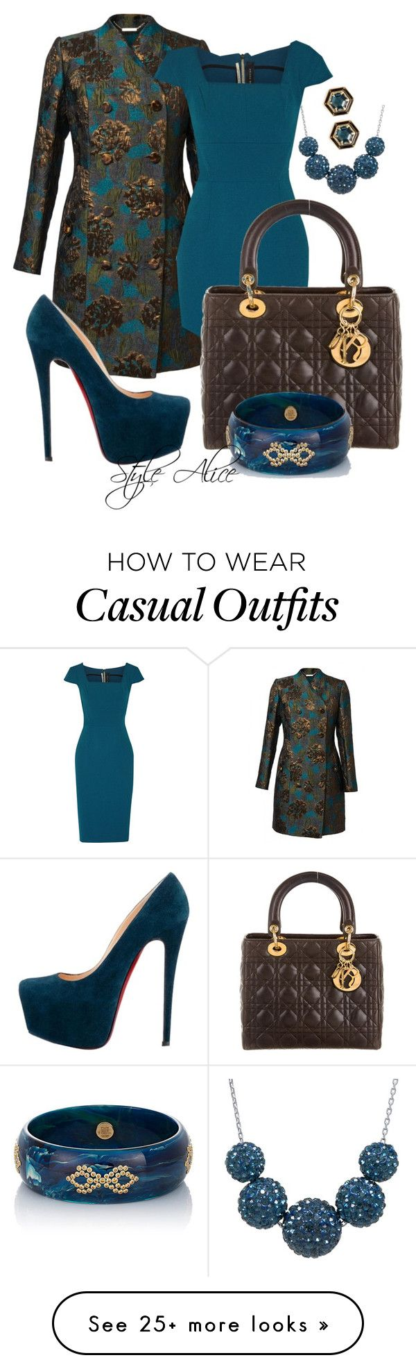 """Casual"" by alice-fortuna on Polyvore featuring Roland Mouret, Christian Dior, Christian Louboutin, Lulu Frost and Mark Davis"