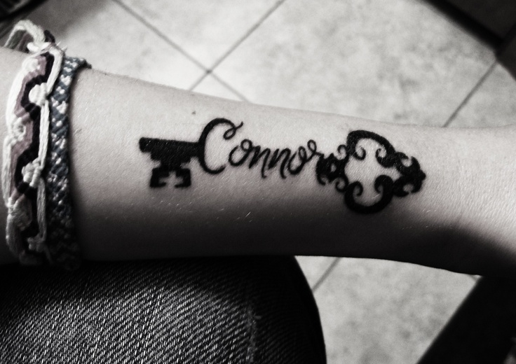 Childs name tattoo. Son is the key to my heart <3 Skeleton Key