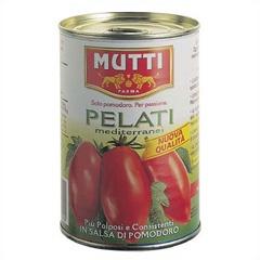Gepelde tomaten van Mutti (uit Parma) is al ruim 100 jaar een begrip in Italië. Het merk onderscheidt zich door constante kwaliteit door het gebruik van uitsluitend Italiaanse tomaten (gegarandeerd door middel van een certificaat en strenge controles). De gepelde tomaten, Palati, zijn sappig en stevig, zonder huid en zijn ingebed in een romige tomatensaus. Ze zijn verwerkt en verpakt op dezelfde dag van het oogsten om de versheid en intense smaak te behouden.