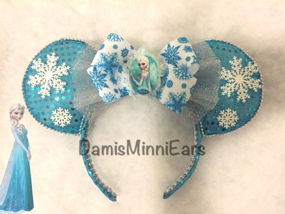 Disney Elsa-Frozen inspired minnie ears/mickey ears. Check more styles in my etsy store! DamisMinniEars