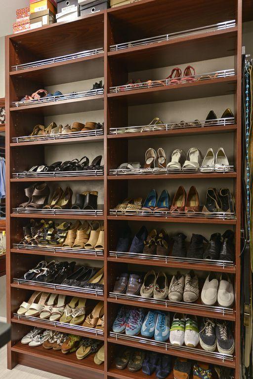 mahogany closet custom angled shoe storage with chrome shoe fences