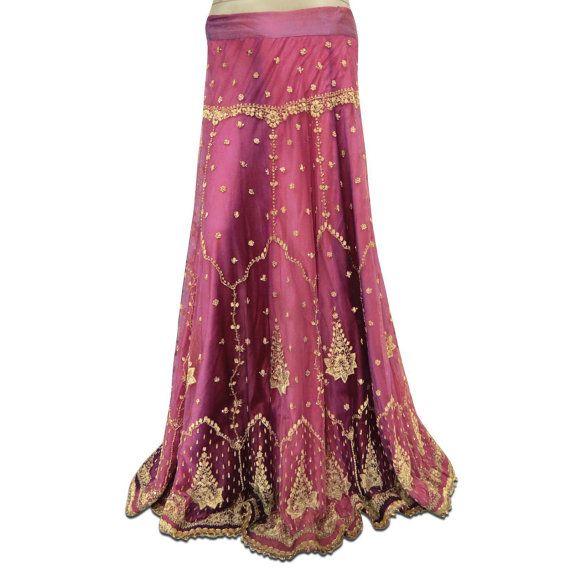 LehengaHand Vintage indio vestido nupcial abalorios antiguo Deco arte mujeres indias Lehenga estilo Bollywood India tela púrpura falda VSK773