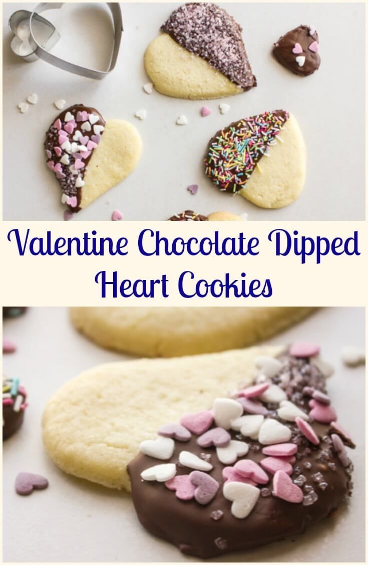 Valentine Chocolate Dipped Heart Cookies, delicious firm butter cookies,dipped in chocolate and sprinkles, perfect baking fun with kids. via /https/://it.pinterest.com/Italianinkitchn/