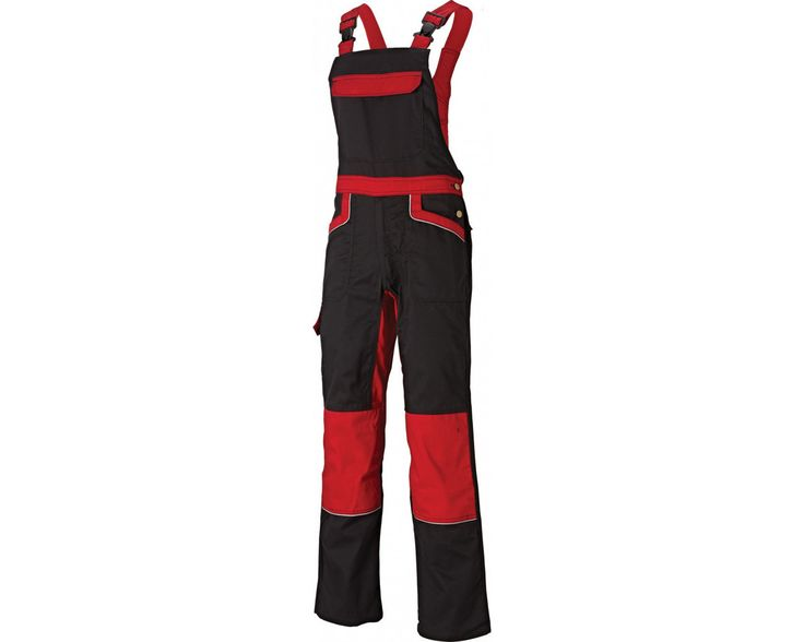 Dickies IN260 Bib And Brace -  Black Red LO QUE NO