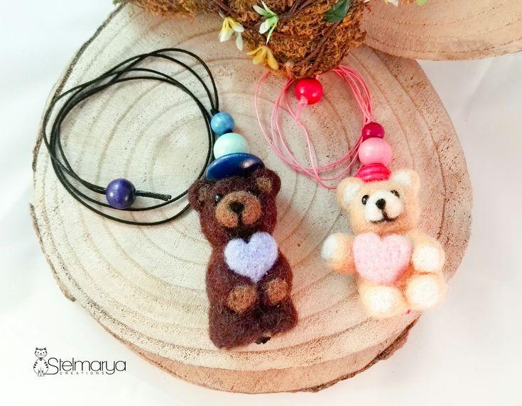 Collane Mini Teddy Bears in lana cardata needle felting
