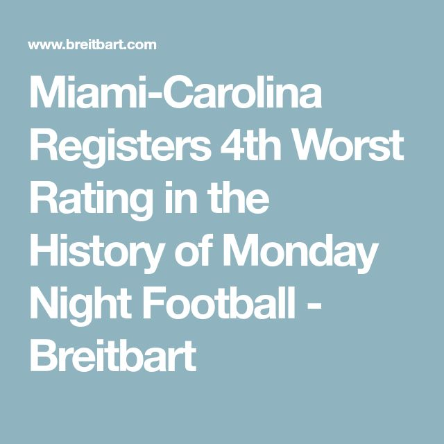 Miami-Carolina Registers 4th Worst Rating in the History of Monday Night Football - Breitbart
