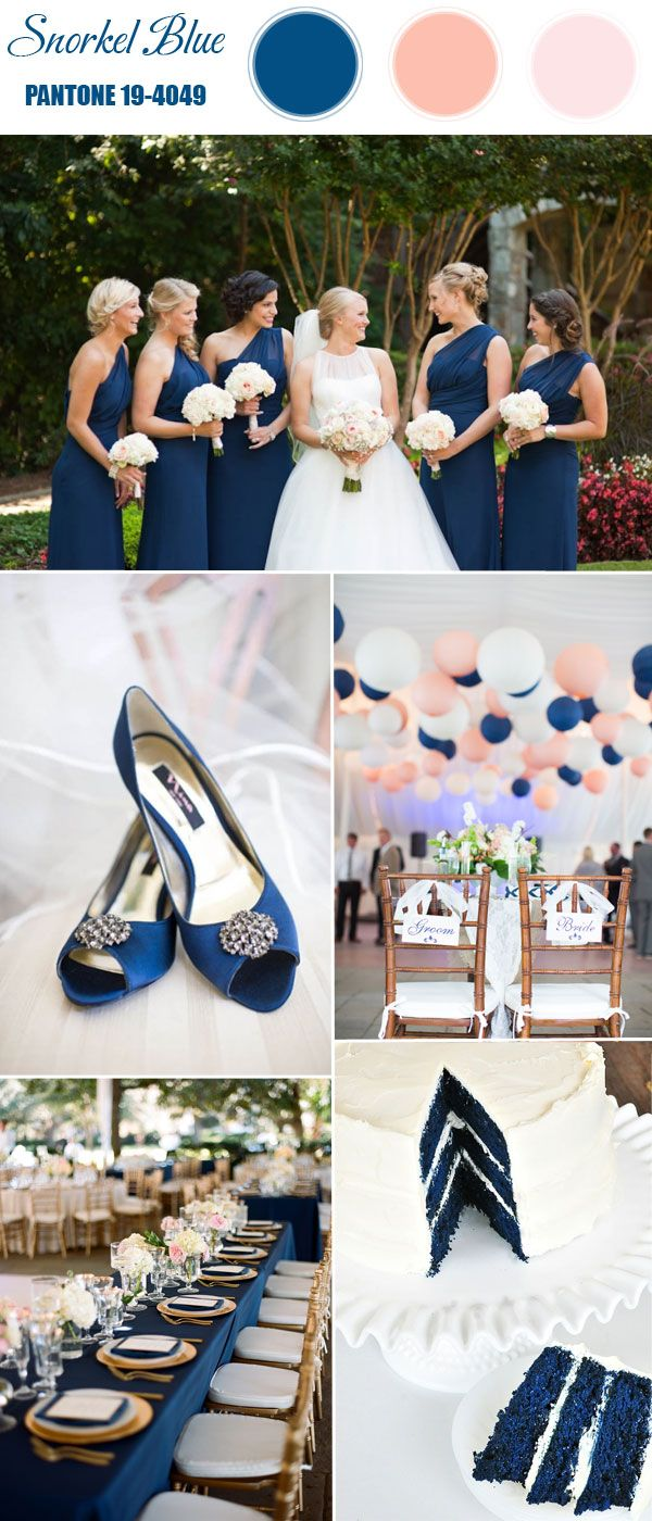 pantone snorkel dark blue and peach wedding color ideas for spring summer weddings 2016
