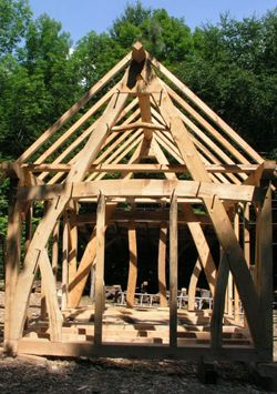 Timber frame cabin 14 39 x 16 39 heartwood school timber for Cruck frame house plans