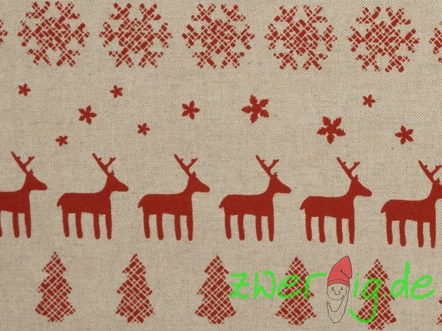 Weihnachtsstoffe - Dekostoff natur/rot Wintermotive - Weihnachtsstoff - ein Designerstück von zwergigDE bei DaWanda
