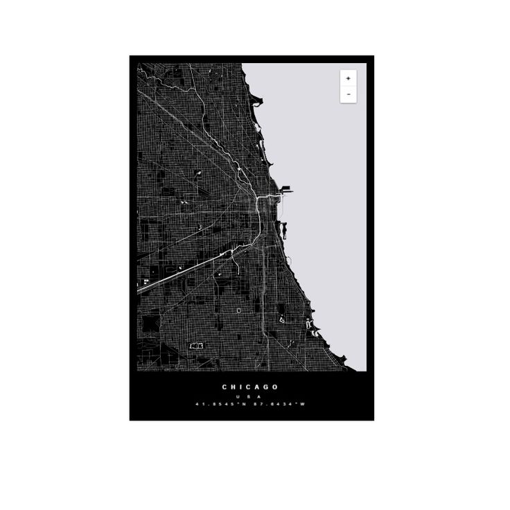 Decorative map of Chicago USA by Maptu