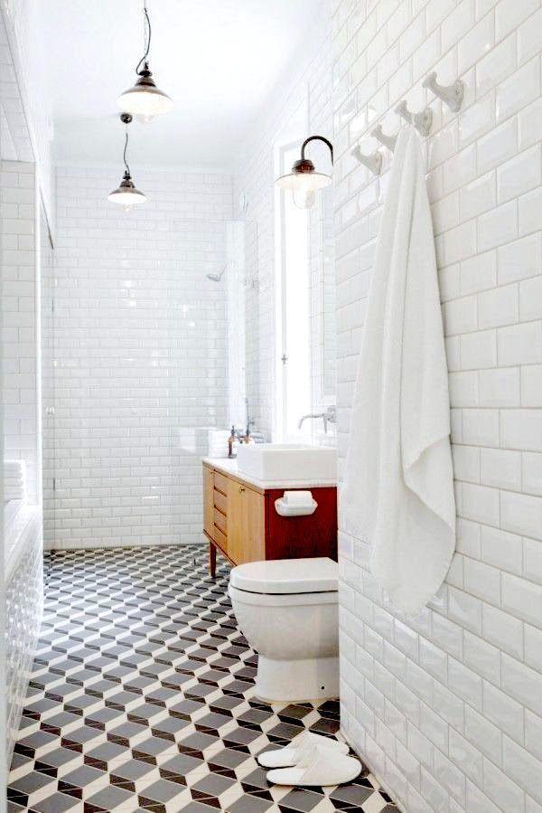 Falling Block Pattern | White Subway Tile | Retro Style | Bathroom Ideas | Home Improvement | Interior Design