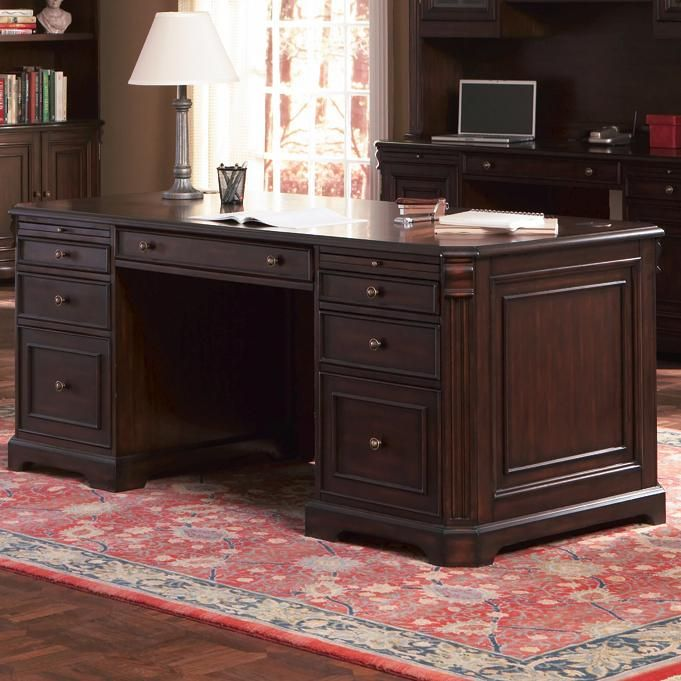 Cherry Valley Traditional Double Pedestal Computer Desk Office Furniture Atlantic Bedding And Furniture Furniture Coaster Furniture Home Office Desks