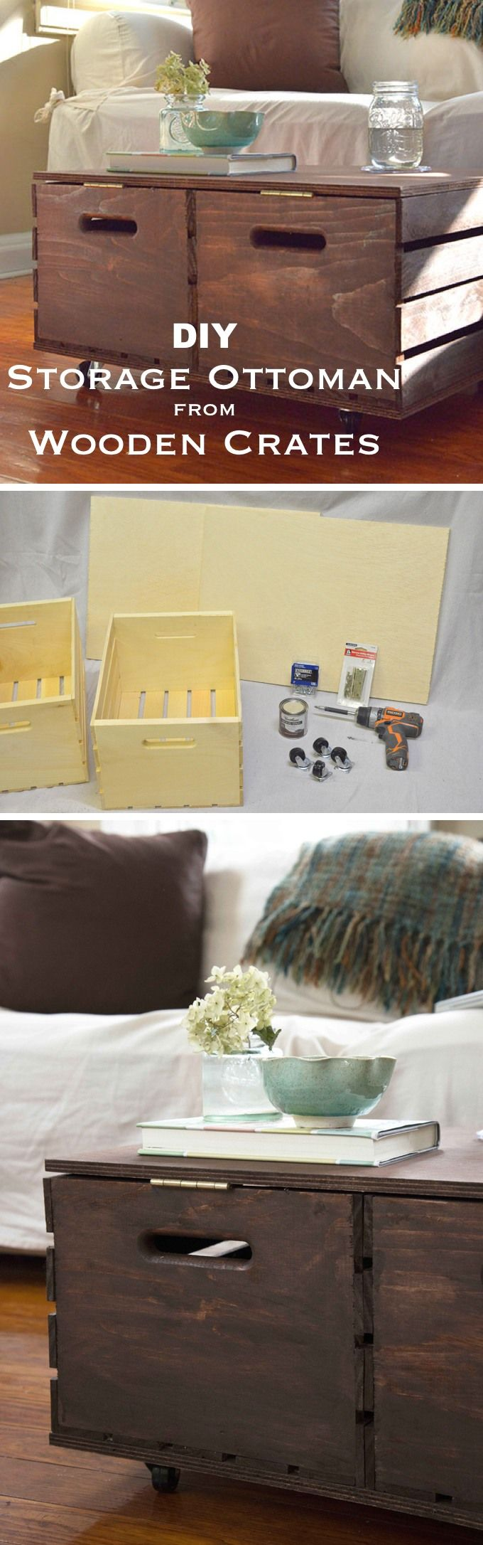 How to build a storage ottoman - Diy Storage Ottoman Made From Wooden Crates