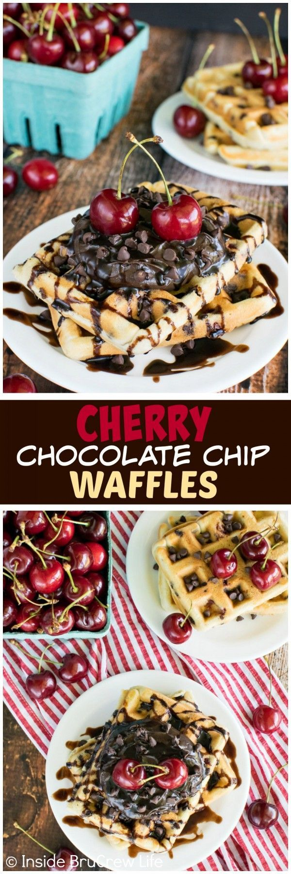 Cherry Chocolate Chip Waffles | Homemade, Chocolate chips and Waffle ...
