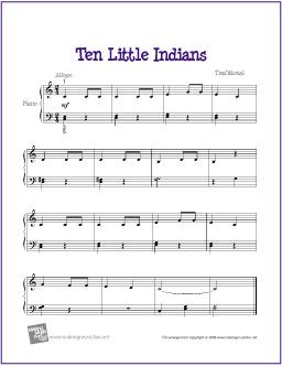 Ten Little Indians   Free Nursery Rhyme Sheet Music for Easy Piano - http://makingmusicfun.net/htm/f_printit_free_printable_sheet_music/ten-little-indians-piano-solo.htm