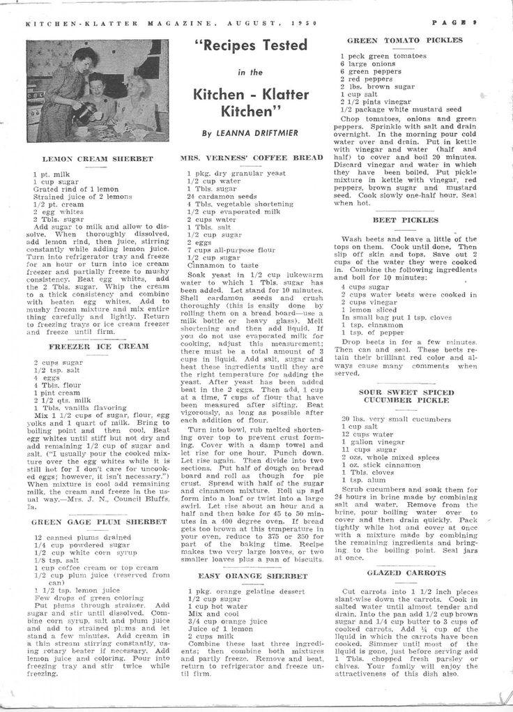 Kitchen Klatter Magazine, August 1950 - Lemon Cream Sherbet, Freezer Ice Cream, Green Gage Plum Sherbet, Mrs Verness Coffee Bread, Easy Orange Sherbet, Green Tomato Pickles, Beet Pickles, Sour Sweet Spiced Cucumber Pickles, Glazed Carrots