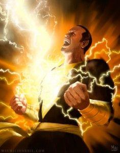 SHAZAM!, el cual tiene un significado diferente:  En el caso de Black Ádam es:  S: Resistencia del dios egipcio Shu  H: La velocidad del dios egipcio Horus  A: La Fuerza del dios egipcio Amon  Z: La Sabiduría del dios egipcio Zehuti/Thoth (Cualquiera de los dos nombres es válido, ya que Zehuti es el otro nombre como se le conoce al dios egipcio)  A: El Poder del dios Egipcio Atón  M: La Valentía del dios Egipcio Mehen