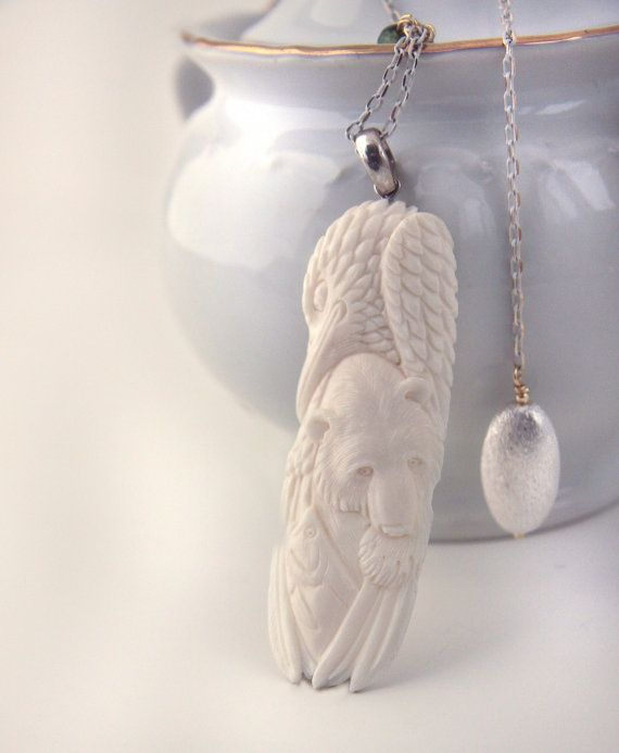 Hand Carved eagle fish bear solid 925 silver by anypearljewelry,