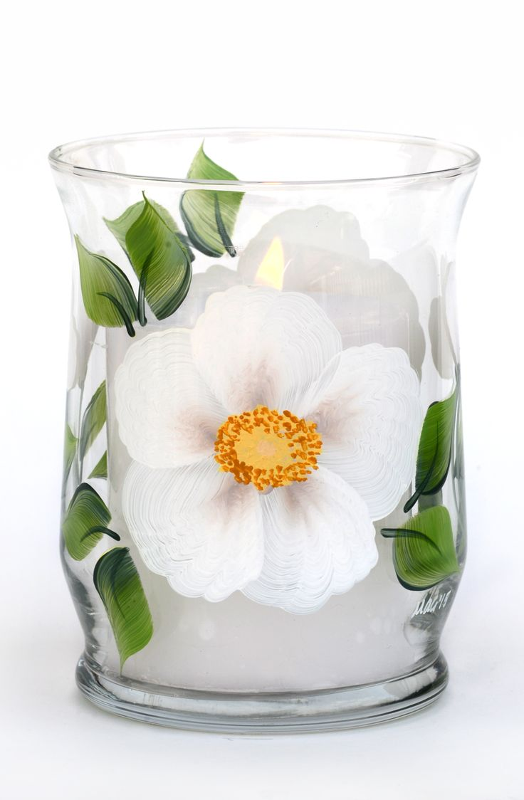 """Creamy white beach roses with golden centers and dark green leaves hand painted encircling 4.5"""" tall mini pillar candle holder which holds a 2.5"""" mini pillar (included). Sealed and heat-cured for adde"""